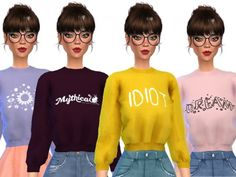 The Sims Resource: Tumblr Themed Crop Tops by Wicked_Kittie • Sims 4 Downloads
