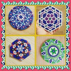 Coasters hama beads by Hama Beads Coasters, Diy Perler Beads, Perler Bead Art, Pearler Beads, Fuse Beads, Melt Beads Patterns, Pony Bead Patterns, Perler Patterns, Beading Patterns