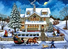 Snowballed F - artwork, house, painting, art, wide screen, architecture, scenery, beautiful, landscape, horse, sleigh, equine