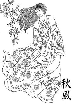 geisha in the wind pen and ink