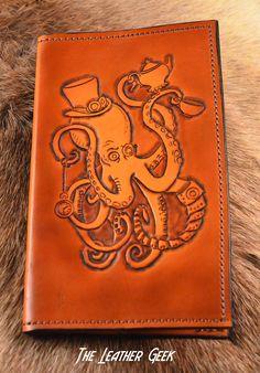 Steampunk Octopus leather journal Bullet Journal Tea Time