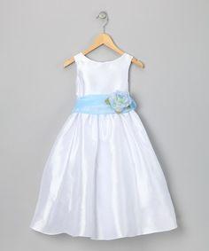 Look at this #zulilyfind! White & Blue Flower Dress - Toddler & Girls #zulilyfinds