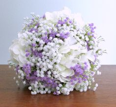 Lavender and white silk and real tough flower bridal bouquet with hydrangea and baby's breath (gypsophila) wrapped with white satin. (custom colors available) #springwedding #summerwedding #PosiesPearls