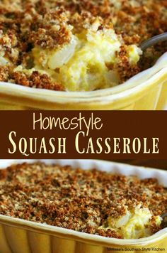 Homestyle Squash Casserole - This homestyle squash casserole is another dish that was regularly seen on our table when we were kids. It's straight from the garden comfort food that I learned to make from my Mom. Southern Squash Casserole, Yellow Squash Casserole, Summer Squash Casserole, Pioneer Woman Squash Casserole, Zucchini Squash Casserole, Mexican Casserole, Yellow Squash Recipes, Summer Squash Recipes, Fall Recipes