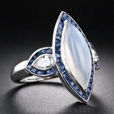 Moonstone, Sapphire, and Diamond Ring