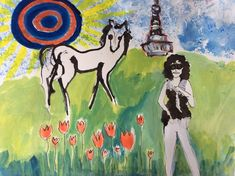 Improv painting Woman horse and tulips