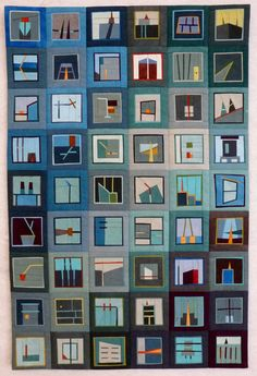 I like the sharper contrast and line elements (compared to her other quilts) and the blending of shades of blue. Use as colour inspiration.  [storyboards - Erin Wilson Quilts]