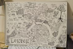 I love this hand drawn map of London by Anika Mottershaw. London Map, London Museums, North London, London City, Mental Map, Map Projects, Map Globe, New Museum, Map Design