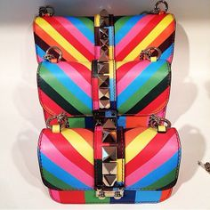 From the Glamour Instagram: Rainbow bright bags from Valentino resort