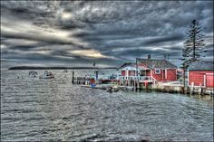 """Maine Fine Art Photography Wall Art Photo Scenic Storm Lobster Harbor Boats """" Mcloon's Storm Front """" by Hal Hagy (all rights reserved). $38.00, via Etsy."""