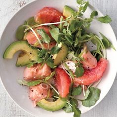 Avocado Makes These Salads Spectacular - grapefruit salmon and avocado salad. A satisfying salad is all about a combination of textures: here, crisp greens, juicy citrus, silky salmon, and rich avocado.