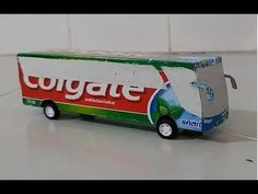 How to make bus of paper Easy- colgate Recycled Toys, Recycled Crafts Kids, Bus Crafts, Preschool Crafts, Cardboard Crafts, Paper Crafts, Diy For Kids, Crafts For Kids, Transportation Crafts