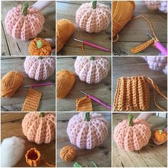 How to make a Crochet Pumpkin in any size and any yarn Make a chain to the length that you want your pumpkin height to be. Work rows of DC ( UK terms ) in to the back loop only. Ch 1 and turn at the end of each row. Make a rectangle , the finished length Holiday Crochet, Halloween Crochet, Crochet Home, Diy Crochet, Crochet Crafts, Yarn Crafts, Crochet Fall Decor, Thanksgiving Crochet, Simple Crochet