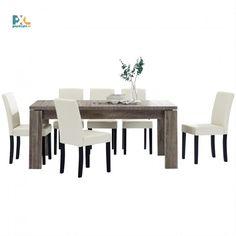 Jedálenská zostava 1+6. Elegantný jedálenský stôl 170x79 cm s delenou doskou pre 8 osôb. Vo farbe tmavý dub spolu so 6 jedálenskými stoličkami. Stoličky sú čalúnené ekokožou v krémovej farbe.