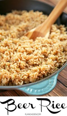 Beer Rice - recipe from my Mom's vintage cookbook from the 60s. Only 5 ingredients and it's ready in 20 minutes. Use your favorite beer for this easy side dish!!