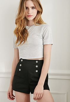 So nice in Navy or Bright Blue. $20. Buttoned High-Waisted Shorts | Forever21 - 2000097486