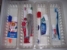 Assign them each their own toothbrush basket.  Purchase these baskets 2 for $1.00 at the dollar store.