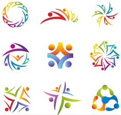 Illustration about Set of Community / People / Social Network Icons in Rainbow Colors. Illustration of graphic, silhouettes, friendship - 48845515 Logo Design Love, Circle Logo Design, Logo Design Inspiration, Teamwork Logo, Massage Logo, Social Network Icons, Conference Logo, Globe Logo, Family Logo
