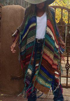 LONG Handknit Womens Bohemian Festival Hippie Beach by poshbygosh Crochet Shawl, Knit Crochet, Boho Diy, Boho Look, Hippie Chic, Boho Outfits, Hand Knitting, Boho Fashion, Knitwear
