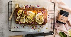 Lemon, Honey And Almond Loaf Honey Love, Raw Honey, A Food, Good Food, Ground Almonds, Almond Recipes, Skewers, Pistachio, Sweet Recipes