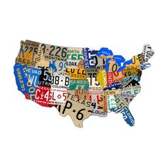 USA License Plate Map 35 x 21 Inches Metal Sign American Made Vintage Style Retro Garage Art Free Shipping PS063 by HomeDecorGarageArt on Etsy