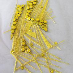 106 отметок «Нравится», 6 комментариев — Chady Bou Chaaya (@chadytherydesign) в Instagram: «La folie en jaune…» Zardozi Embroidery, Kurti Embroidery Design, Hand Embroidery Dress, Embroidered Lace Fabric, Bead Embroidery Patterns, Tambour Embroidery, Couture Embroidery, Embroidery Fashion, Hand Embroidery Designs
