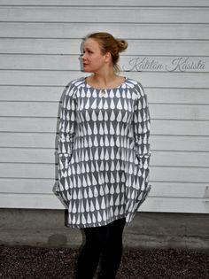Kätilön Käsistä: Isotaskuinen pisaratunika - a raindrop tunic Rain Drops, Ruffle Blouse, Tunic, Long Sleeve, Sleeves, Tops, Women, Fashion, Moda