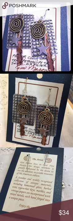 Upcycle earrings made from recycled items New These recycled upcycle art earrings are made from paper clips, stamping tape, petroglyph time swirls and recycled air filters. Made by artist Kim mason well known in New Mexico for making art from recyclable treasures of the American culture. New with tag and artist bio. Kim Mason Jewelry Earrings