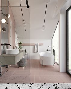 Blush and matte black perfection with that amazing freestanding bath tub