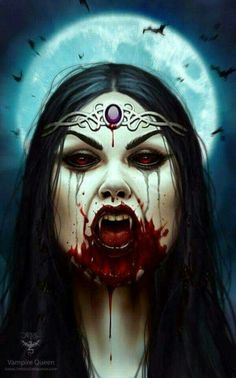 """""""Vampire Queen""""by Christos Karapanos @ ArtStation Female Vampire, Vampire Queen, Vampire Girls, Vampire Art, Vampire Fangs, Gothic Horror, Horror Art, Dark Fantasy Art, Dark Art"""