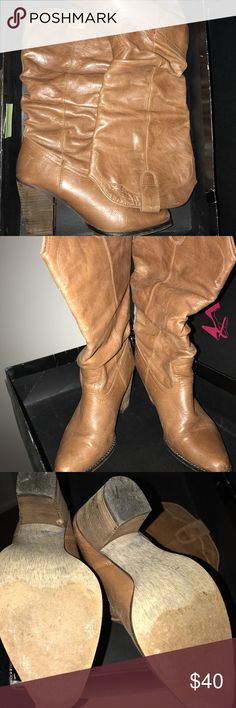 STEVE MADDEN COWBOY BOOTS IN BOX Steve Madden leather cowboy style boots, worn and in great condition, includes box Steve Madden Shoes