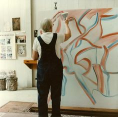 Willem de Kooning working on  , 1984, in his studio, East Hampton, Long Island, February 2nd, 1984 Photograph by Tom Ferrara