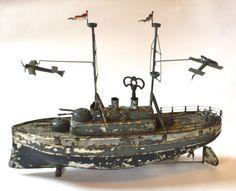 Vintage Carette Tin Toy German Windup Boat Airplane Ship Bing Battleship Marklin