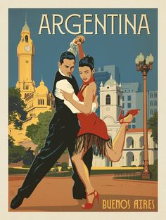 Buenos Aires_Anderson Design Group – World Travel – Argentina Art Deco Posters, Vintage Travel Posters, Poster Prints, Vintage Advertisements, Vintage Ads, Vintage Medical, Photo Vintage, Argentina Travel, Illustrations