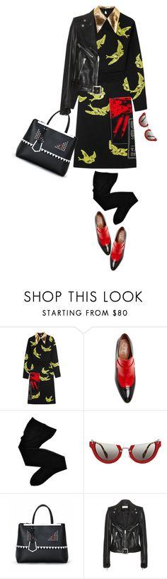 """Miu Miu Swallow Print Dress"" by mychanel ❤ liked on Polyvore featuring Miu Miu, Marni, Fogal, Fendi and Yves Saint Laurent"
