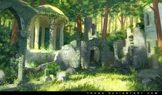 Forest ruins, Sylvain Sarrailh on ArtStation Environment Concept, Environment Design, Fantasy Places, Fantasy World, Fantasy Concept Art, Fantasy Art, Art Environnemental, Bg Design, A Court Of Wings And Ruin