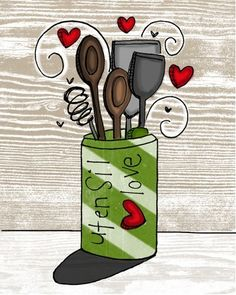 utensil love- i heart kitchen series. $24.00, via Etsy.