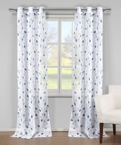Another great find on #zulily! White & Blue Everdeen Curtain Panel - Set of Two #zulilyfinds
