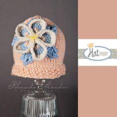 Newborn RTS Newborn Hat - Flower Baby Beanie - Knit Baby Hat in Peach, blue, cream,yellow - Infant Photo Prop