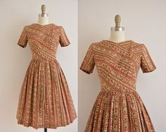vintage 1950s dress / 50s floral stripe print by simplicityisbliss