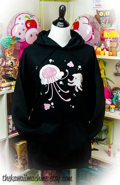 Pastellyfish Jellyfish and Octopus Pastel Womens Hoodie Hooded Sweatshirt Kawaii Fairy Kei Pastel Goth Pastel Goth Fashion, Kawaii Fashion, Cute Fashion, Fashion Outfits, Pastel Goth Style, Pastel Goth Clothes, Fashion Styles, Grunge Goth, Grunge Style
