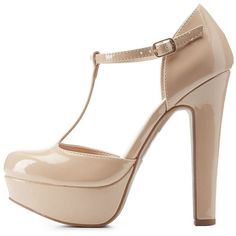 Delicious Chunky Platform T-Strap Heels ($39) ❤ liked on Polyvore featuring shoes, pumps, nude, chunky heel shoes, t strap pumps, nude shoes, almond toe pumps and chunky platform shoes