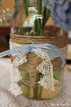 vintage baby shower ideas, or simply a nice way to decorate a jar turned into a vase...