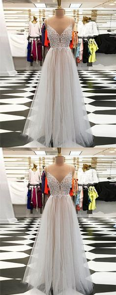 Champagne A line v neck tulle long prom dress, champagne evening dress Prom Gowns, Formal Women Dress P0603 #promdress #promdresses #promgown #promgowns #long #prom #modestpromdress #newpromdress #2018fashions #newstyles #lace #champagne