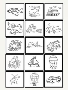 Art N Craft, Memory Games, Busy Book, Drawing For Kids, Digital Stamps, Preschool Crafts, Embroidery Patterns, Coloring Pages, Transportation