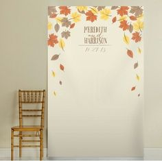 Autumn and Fall Themed Photo Booth Background. Create the perfect wedding photos with uniquely designed photo backdrops and photo booth backgrounds for your Fall & Autumn themed wedding.