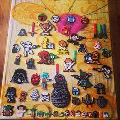 Star Wars stuff hama beads by mortenlundemann Perler Patterns, Bead Patterns, Star Wars Crafts, 8 Bits, Hama Beads Design, Bazaar Ideas, Xmas Decorations, Perler Beads, Pixel Art