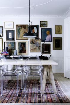 Nice use of a dining room with high ceiling