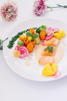 Saumon sauce au beurre blanc citronnée, jardin de légumes: carottes, topinambour, courgettes, betteraves roses - Recette Dollyjessy Blog Lif...