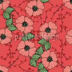 Red flowers with leaves Vector Pattern Summer Feeling, Vector Pattern, Vector File, Red Flowers, Pastel Colors, Surface Design, Green Leaves, Bloom, Pure Products